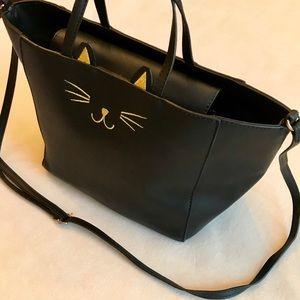 Other - Black Vegan Leather Gold Cat Face Bag